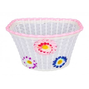 "Bicycle Basket Childen`s 20"" white with flowers plasic"