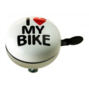 Bicycle Bell RideFIT I love My bike 80mm Steel white